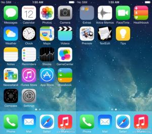 Weibossa julkaistu kuva - huomaa oikealla uudet iOS 8:n Healthbookin, Preview'n, TextEditin sekä Tipsin kuvakkeet