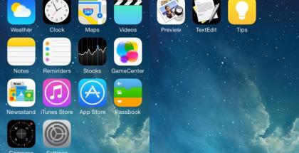 Weibossa aiemmin julkaistu kuva - huomaa oikealla uudet iOS 8:n Healthbookin, Preview'n, TextEditin sekä Tipsin kuvakkeet