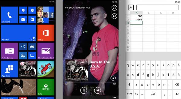 Windows Phonen aloitusnäkymä, Nokian MixRadio ja Excel virtuaalinäppäimistön kera