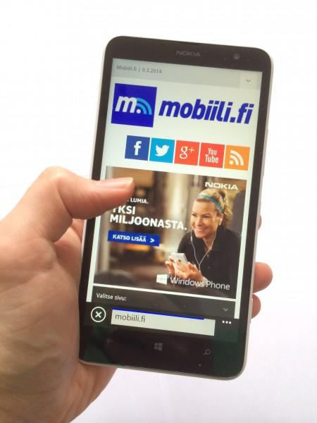 Lumia 1320 ja Mobiili.fin etusivu