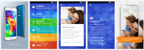 Kuvankaappauksia Galaxy S5 Experience -sovelluksesta