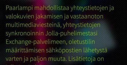 Tiedot Jollan Paarlampi-päivityksestä. Kuva: Jolla Suomi