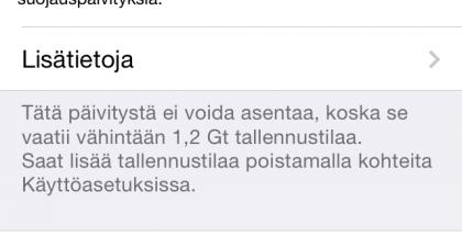 Tieto iOS 7.1.1 -päivityksestä