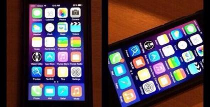 Väitetty vuotokuva iPhonesta, jossa on iOS 8. Esillä uusia sovelluskuvakkeita.