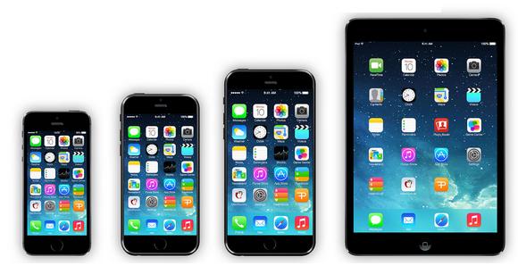 iPhone 5s vasemmalla ja iPad mini oikealla sekä välissä konseptikuvat 4,7 ja 5,7 tuuman iPhoneista