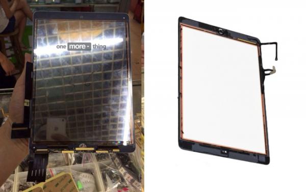 Väitetty iPad Airin 2. sukupolven näyttölasi- ja paneelikomponentti