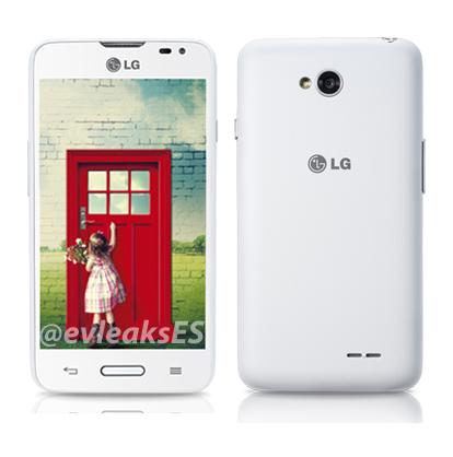 LG L65 edestä ja takaa @evleaksin vuotamassa lehdistökuvassa