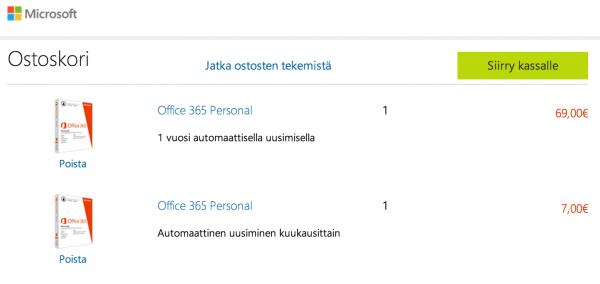 Microsoft Office 365 Personalin voi ostaa kuukausi- tai vuositilauksella