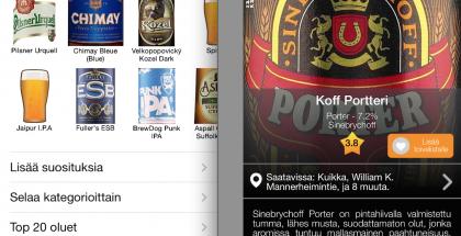 Pint Please -sovelluksesta voi tarkastella eri oluita ja niiden tietoja