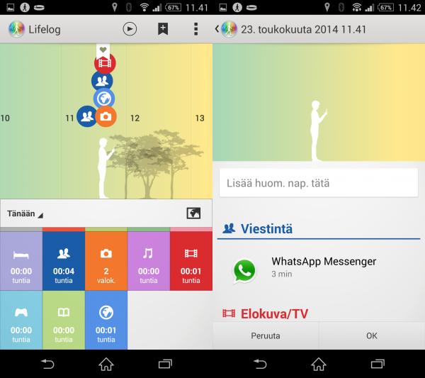 Sony Smartband ja Lifelog -sovellus tallentavat päivän tapahtumat sovellukseen. Tämän avulla voi katsoa, mitä kaikkea on päivän aikana tehnyt