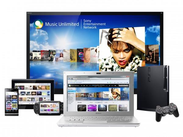 Niin kuin kuvasta voi päätellä, Sony Music Unlimited ei toimi ainoastaan älypuhelimilla, vaan lähes kaikilla Sonyn laitteilla
