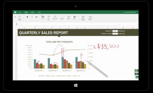 Kuvakaappaus uudistuneesta Excelistä