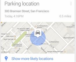 Google Now -parkkeeraustietoa