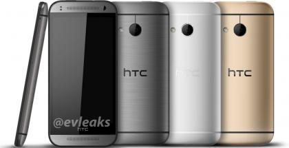 HTC One Mini 2 eri värivaihtoehtoina @evleaksin julkaisemassa kuvassa