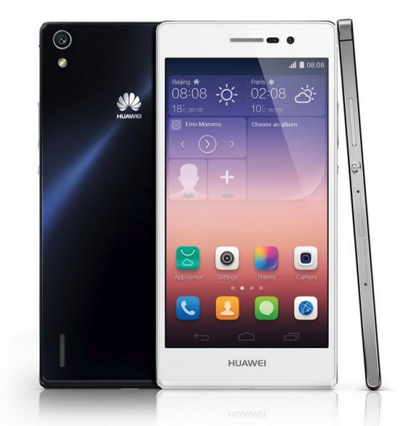 Huawei Ascend P7 edestä, takaa ja sivulta
