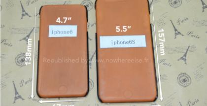 4,7 ja 5,5 tuuman iPhonejen muotit Nowhereelse.fr:n aiemmin julkaisemassa kuvassa