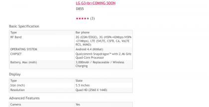 LG:n paljastamat G3:n tiedot