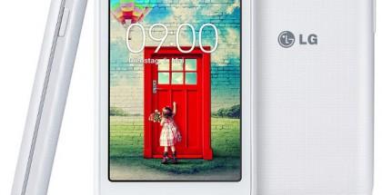 LG:n uusi edullinen L35-älypuhelin valkoiosena värivaihtoehtona sivulta, edestä ja takaa
