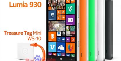 Nokia Treasure Tag Mini WS-10 Lumia 930:n rinnalla kiinalaisessa Baidu-palvelussa julkaistussa kuvassa