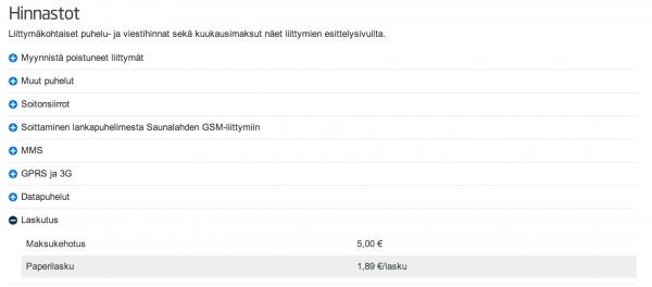 Saunalahden hinnastossa paperilaskun hinta on nyt 1,89 euroa