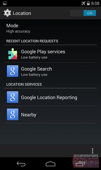 Nearby Androidin asetuksissa