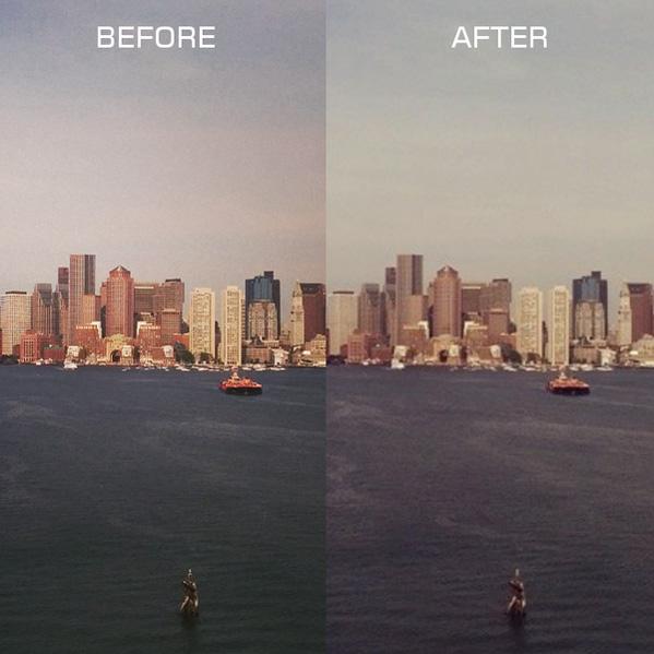 Alkuperäinen Android-laitteella otettu kuva vasemmalla, Instagramiin ladattuna oikealla.