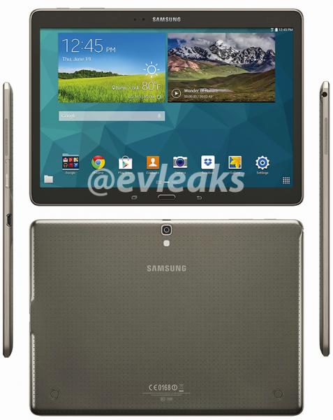 Samsung Galaxy Tab S 10.5 @evleaksin julkaisemassa kuvassa