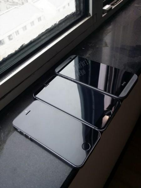 iPhone6 uusimmassa kuvassa, vierellä iPhone 5s ja HTC One (M8)