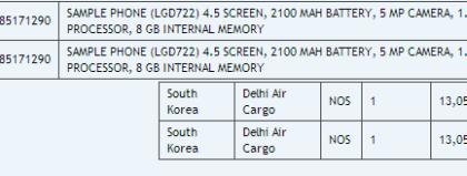 LG G3:n ominaisuuksia listattuna intialaisessa rahtilistauksessa