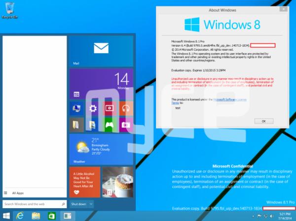 Windows 9 -kuvakaappaus 1