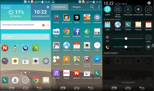 LG luottaa uudessa Optimus UI:ssä tasaisuuteen ja haaleisiin väreihin. Kuvakkeissa on käytetty varjoja, jotka muistuttavat hieman tulevaa Android L:ää