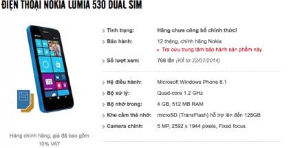 Lumia 530 MaiNguyen-verkkokaupan sivuilla