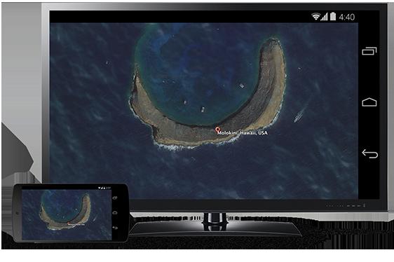 Matkapuhelimen näkymä lähetettynä television ruudulle Chromecastin avulla