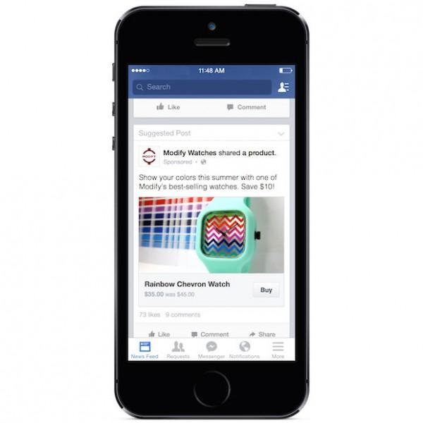 Esimerkki Facebook-mainoksiin lisättävästä ostopainikkeesta