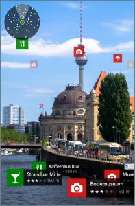 HERE LiveSight tarjoaa tietoja lähiseudun palveluista puhelimen tai tabletin kameran ruudun kautta