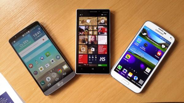 LG G3, Nokia Lumia 930 ja Samsung Galaxy S5