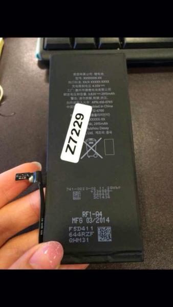 Väitetty iPhone 6L:n akku, kapasiteetiltaan peräti 2915 milliampeerituntia
