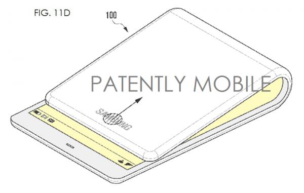 Kuva Samsungin patenttihakemuksesta taipuvalla näytöllä varustetulle puhelimelle.