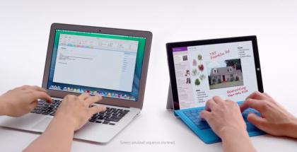 Kuvakaappaus YouTubesta, Microsoftin mainosvideolla vastakkain Surface Pro 3 sekä Applen MacBook Air