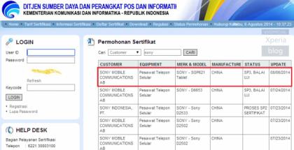 Mystinen Sony SGP621 Indonesian Postelin sertifikaattilistalla
