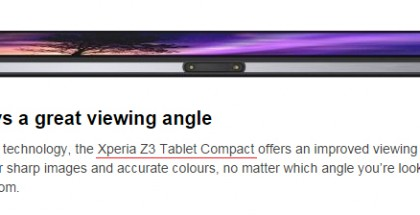 Xperia Z3 Tablet Compact mainittuna Xperia Z2 Tablet -sivustolla