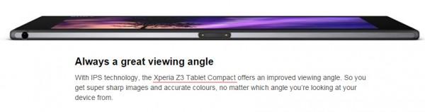 Xperia Z3 Tablet Compact mainittuna Xperia Z2 Tablet -sivustolla