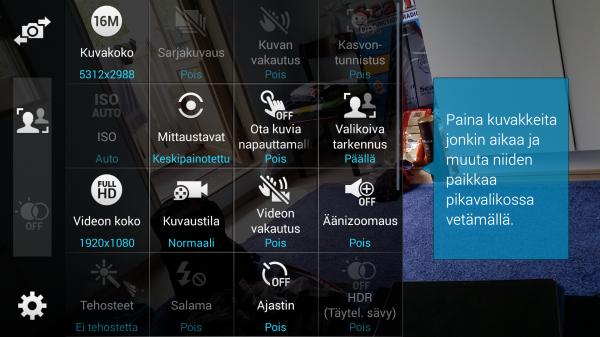 Galaxy S5:n kameraohjelmassa voi säätää monenlaisia eri asioita