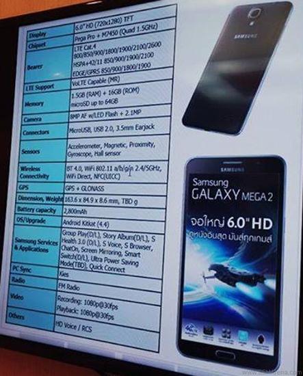 Galaxy Mega 2:n vahvistamattomat, mutta virallisen oloiset speksit vuotivat nettiin
