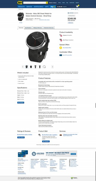Moto 360 Best Buyn sivustolla