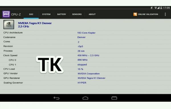 Nexus 9 -tabletin väitetään käyttävän Nvidian uutta 64-bittistä Tegra K1 -järjestelmäpiiriä