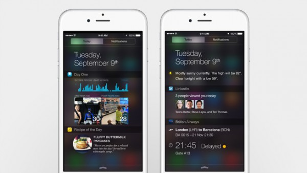 iOS 8 mahdollistaa pienoissovellukset ilmoituskeskuksessa