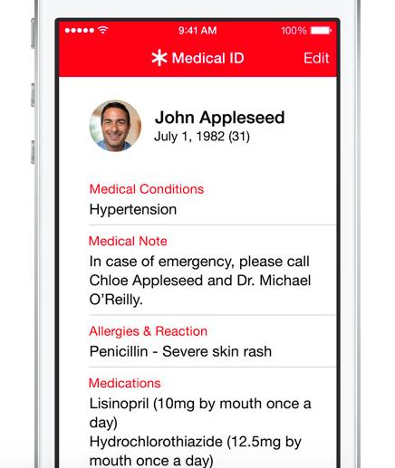 Terveys-sovellukseen voi lisätä tärkeää tietoa esimerkiksi sairauksista tai allergioista sekä yhteyshenkilön tiedot hätätilanteiden varalle. Tiedot saa näkyviin myös lukitulla puhelimella.