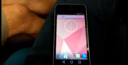 Applen iPhone 5S, jossa Googlen Android L -käyttöjärjestelmä