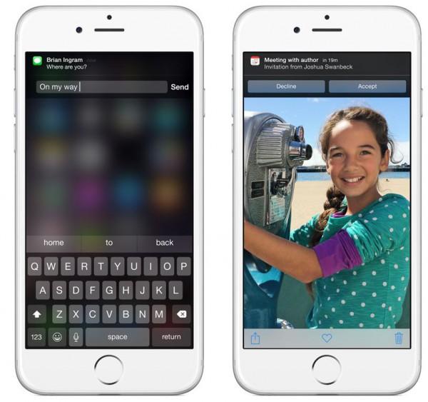 iOS 8:ssa viesteihin voi vastata ilmoituskeskuksessa